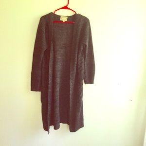 Charcoal black sweater long coat large