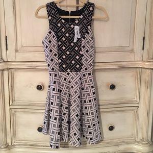AQUA Weave Pattern Black and Cream Tone Dress