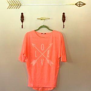 """Tops - Neon Pink """"Love"""" Tee."""