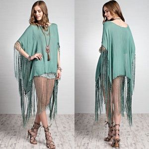 Tops - Solid Statement Fringe Poncho