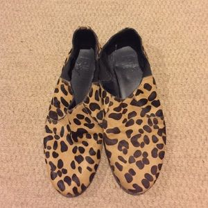 Leopard mohair calf skin loafers