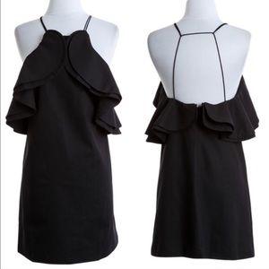 XX The LILIT flutter sexy back linen dress - BLACK