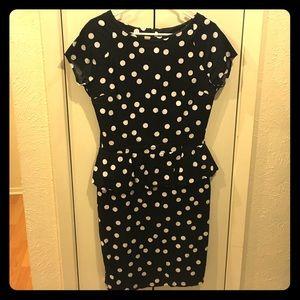 Black & White Polka Dot Peplum Dress