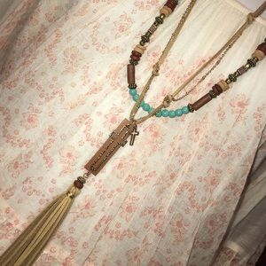 Double stranded turquoise Boho cross necklace