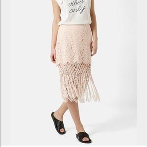 Topshop light pink midi lace skirt with fringe