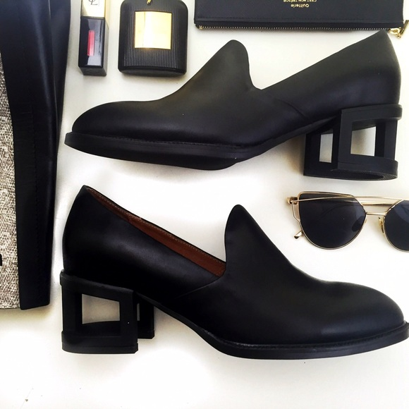 809fb6273a9 Jeffrey Campbell Black Metal Cage Heel Loafers