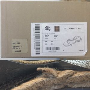 Burberry Shoes - Gold Burberry T-Strap Espadrille Sandals