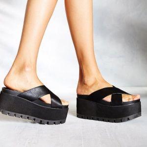 YRU Black Platform Sandals