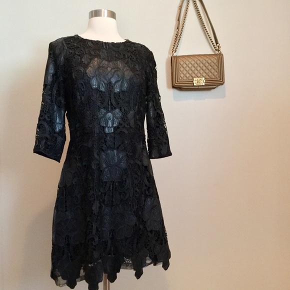 60ecf0de Zara UK black leather & crochet dress NWOT. M_576a1839291a35766f01a576