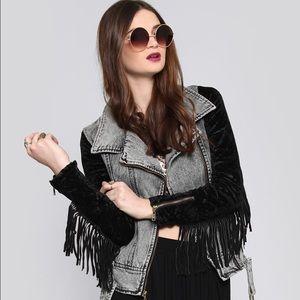 Nasty Gal (UNIF) Denim Fringe Velvet Moto Jacket