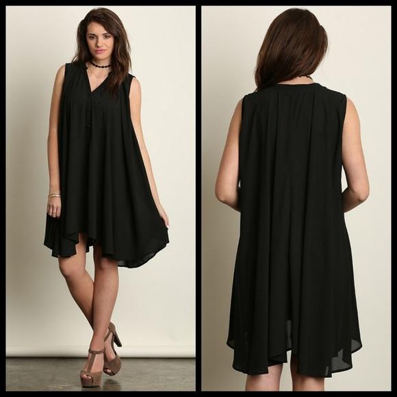 ELEGANT BLACK PLUS SIZE TRAPEZE DRESS Boutique