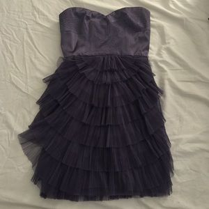 Bcbg maxazria purple strapless cocktail dress