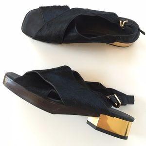 Calvin Klein Collection Calf hair + metal sandals