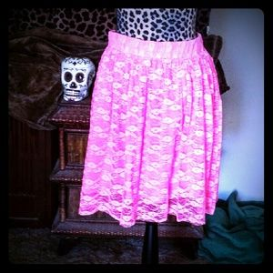 Pins & Needles Dresses & Skirts - Pink floral flair lace skirt L