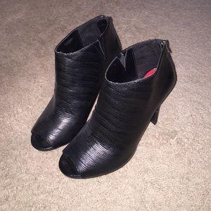 Heeled peep toe booties