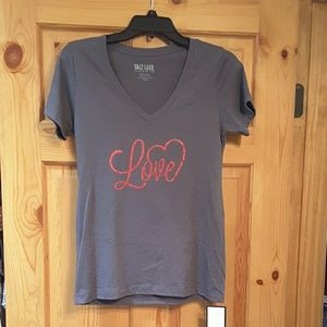 "Salt Lake Clothing Tops - ❤Salt Lake| Ladies V-Neck charcoal gray ""Love"" tee"