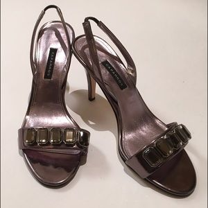 Shoes - Silver Jeweled Heeled Sandal