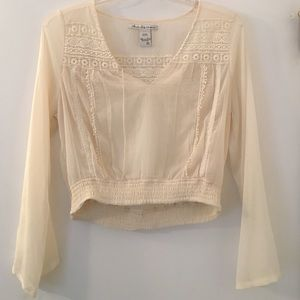 Ivory blouse with crochet detail