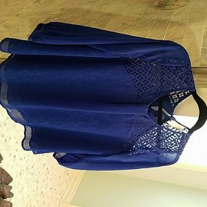Gorgeous blue lined evening blouse