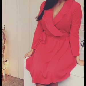 Vintage! Red dress! Pleated collar! Summer!