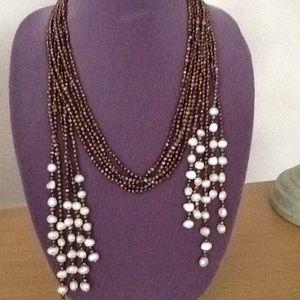 Jewelry - 5 strand chocolate and white fresh water pearls