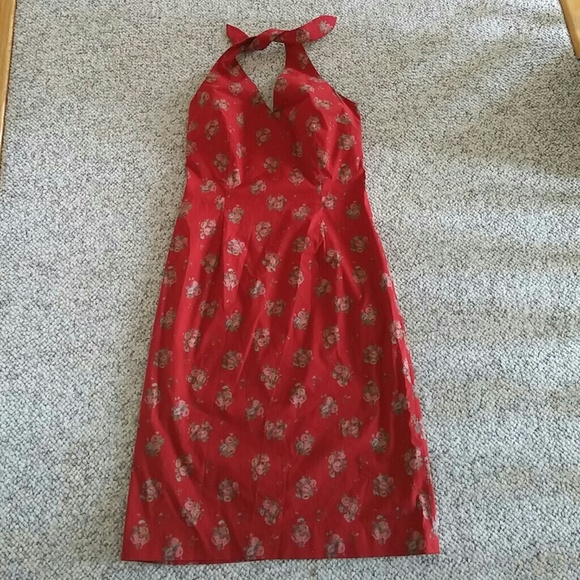 c9c580688545 Ralph Lauren Dresses | Red Floral Shabby Chic Halter Dress | Poshmark