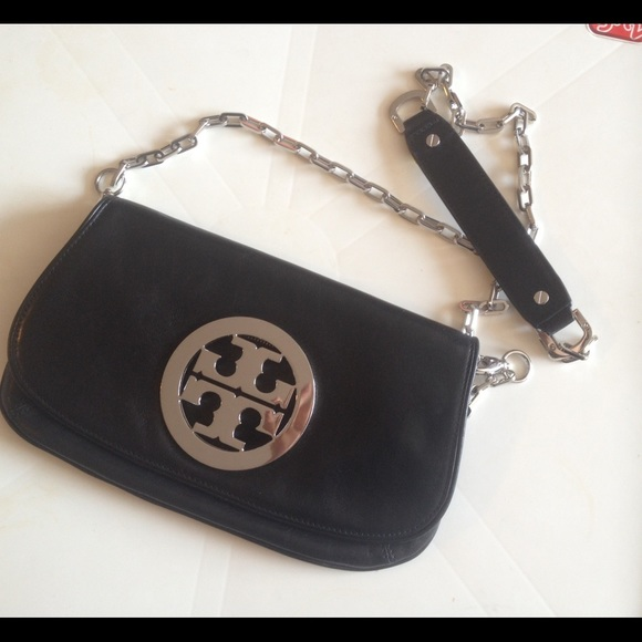82fc19bcb660 Tory Burch Reva Clutch Crossbody Bag Silver Black.  M 576ae2932599fe2403009116