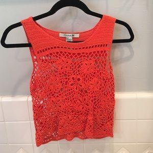 Orange crocheted crop top