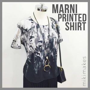 Marni Tops - MARNI • printed brush stroke grey short sleeve top
