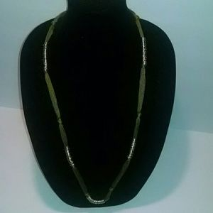 Jewelry - Khaki colored yarn and gold ring necklace