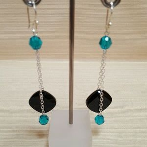 Teal and Black Glam Earrings