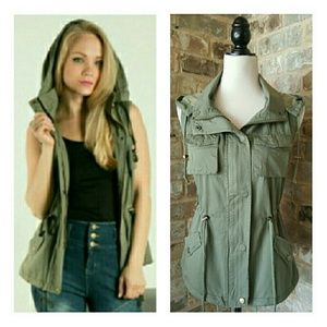 Fashionomics Jackets & Blazers - Lined Military Style Vest w/Removable Hood