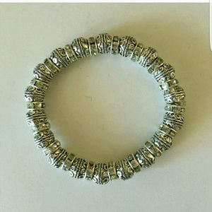 T&J Designs Silver & Crystal Bead Bracelet