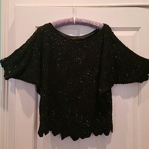 VINTAGE SILK BLACK BEADS AND SEQUINS BLOUSE
