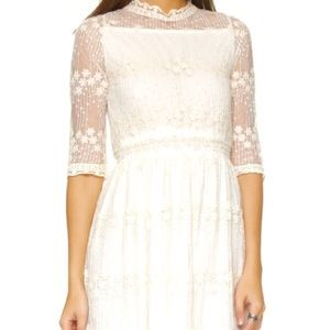 White Embroidered 3/4 Sleeve Dress