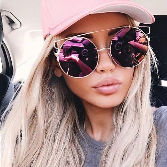 16ddf9808ca Rose Gold Mirrored Wire Brow Bar Round Sunglasses