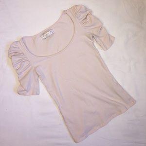 Zara Light Pink Ruffled Shoulders Top Size Small