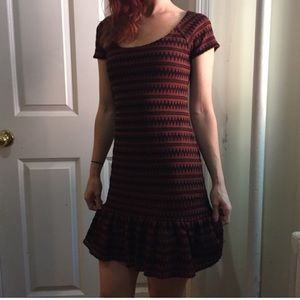 Free People Dresses & Skirts - FREE PEOPLE Rust & Black Zig Zag Drop Waist Dress