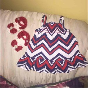 Other - Red white & blue chevron newborn baby dress& shoes