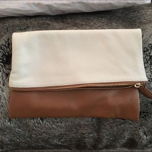 100% leather fold over clutch- NWOT