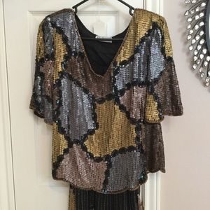 Fully Sequined Beaded Dress Skirt and Top