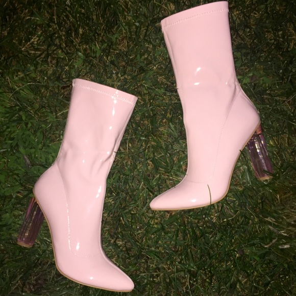cd113103199 Light Pink Perspex Heeled Boots