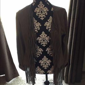 Grey fringe suede jacket