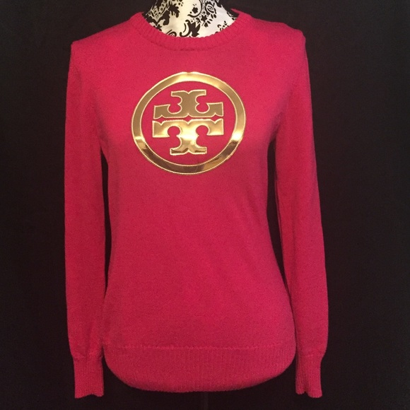 64% off Tory Burch Sweaters - Tory Burch Pink Sweater Gold Logo ...
