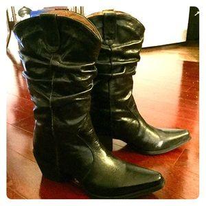 Miz Mooz Shoes - Miz Mooz Black Leather Cowboy Boots 10
