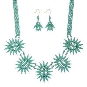🌎📿Mint Flower Burst Statement Necklace Set