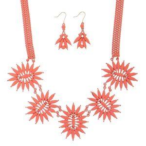 Peach Statement Necklace Set