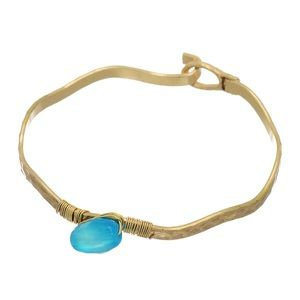 🌎👉🏼Turquoise & Gold Wavy Latch Bangle