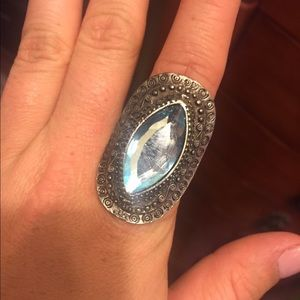 Jewelry - Silver and blue costume ring, one size