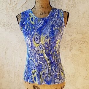 Tops - 236) Sleeveless paisley print tank top